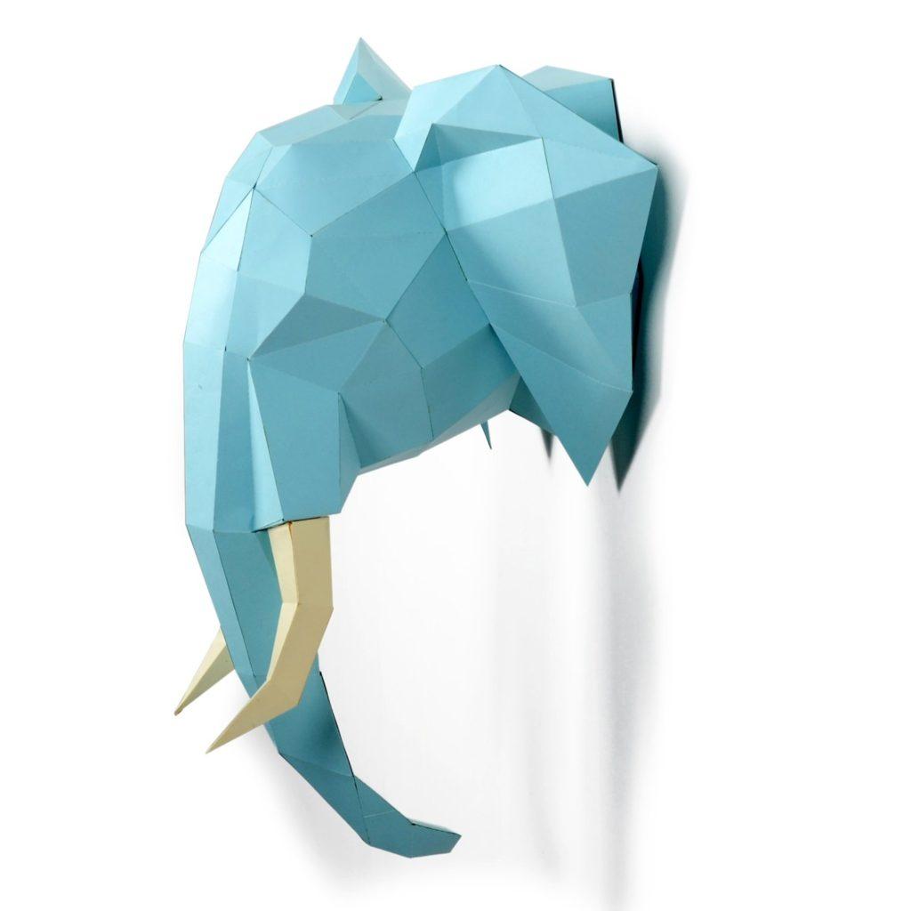 Trofeo testa di elefante di carta, origami, 3D Puzzle